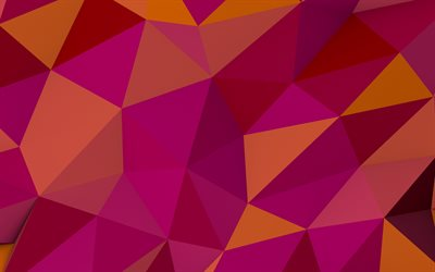 polygon abstraction, orange abstraction background, polygon background, creative orange backgrounds, polygon pink pattern