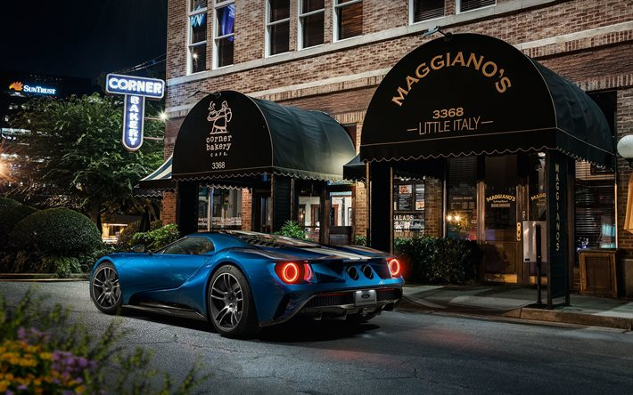 Ford GT, 2020, rear view, exterior, blue sports coupe, supercar, american sports cars, Ford