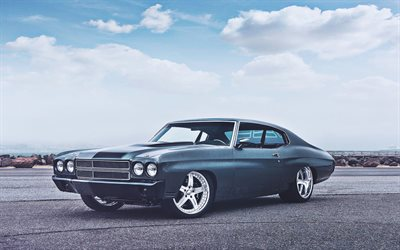 Chevrolet Chevelle, muscle cars, 1968 carros, HDR, retro carros, 1968 Chevrolet Chevelle, os carros americanos, Chevrolet