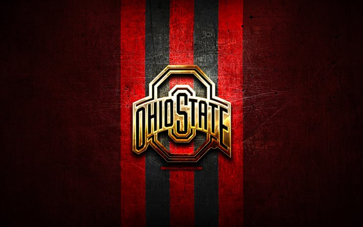Download Wallpapers Ohio State Buckeyes Golden Logo Ncaa Red Metal Background American Football Club Ohio State Buckeyes Logo American Football Usa For Desktop Free Pictures For Desktop Free