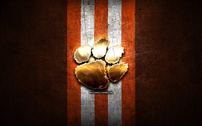 Download Wallpapers Clemson Tigers Golden Logo Ncaa Orange Metal Background American Football Club Clemson Tigers Logo American Football Usa For Desktop Free Pictures For Desktop Free