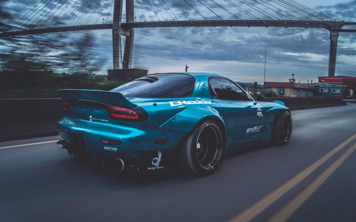 Superb Rocket Bunny, Tuning, Mazda RX 7, Movement, Blue RX 7