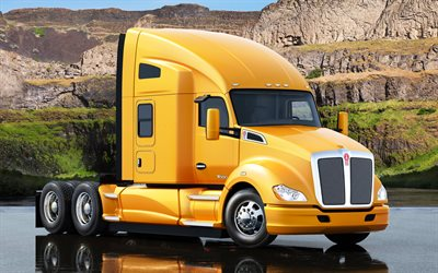 Kenworth T-680, 2017, American truck, yellow, new trucks, delivery, Kenworth