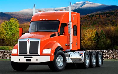 Kenworth T880, 2017, orange T880, new trucks, delivery, American truck, Kenworth