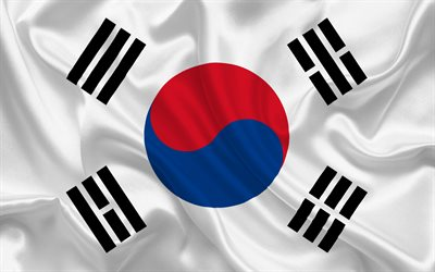 South Korean flag, Asia, South Korea, silk flag, flags of the world