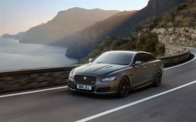 Jaguar XJR575, 2018, Sports sedan, black matte paint, road, speed, Jaguar