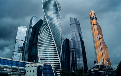 Moscow City, business centers, skyscrapers, Moscow, Russia, modern architecture, modern buildings, Russian Federation
