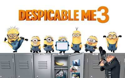 Despicable Me 3, 2017, All the characters, new cartoons, Film Fantasy, Balthazar Bratt, Kevin, minions