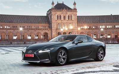 japanese cars, 4k, Lexus LC500, 2017 cars, grey LC500, coupe, Lexus