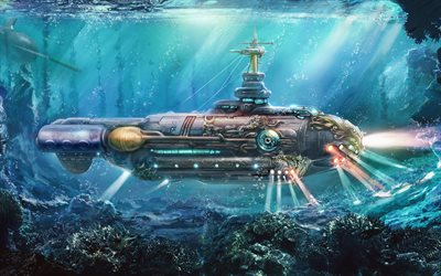 nautilus, underwater, submarine, art