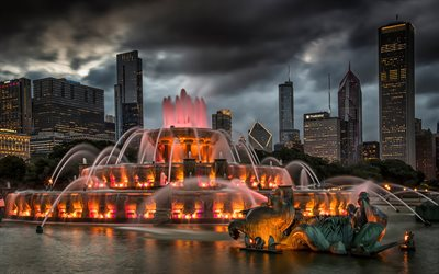 Buckingham Fountain, Chicago, Grant Park, evening, sunset, skyscrapers, modern buildings, Chicago cityscape, landmark, Illinois, USA