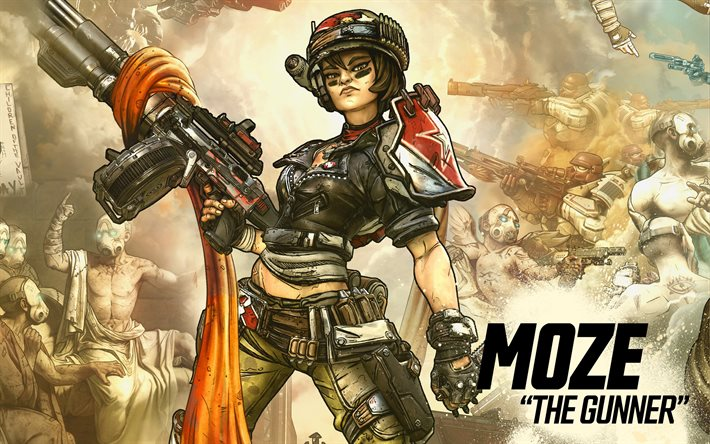 Moze, The Gunner, Borderlands 3, poster, promo materials, main characters, Borderlands characters