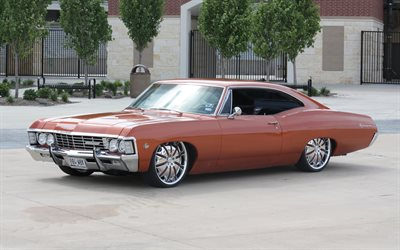 chevrolet impala, 1967, retro-autos, rot, coupe, rot impala 1967, american classic cars, chevrolet
