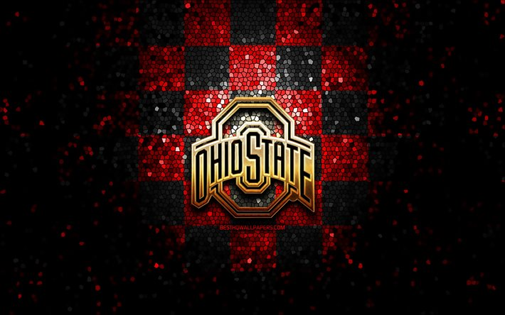 Download Wallpapers Ohio State Buckeyes Glitter Logo Ncaa Red Black Checkered Background Usa American Football Team Ohio State Buckeyes Logo Mosaic Art American Football America For Desktop Free Pictures For Desktop Free