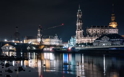 Dresden Cathedral, Cathedral of the Holy Trinity, Dresden, Katholische Hofkirche, Elbe river, night, landmark, Dresden cityscape, Saxony, Germany