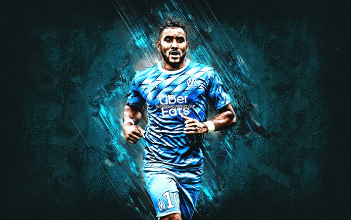 Dimitri Payet, Olympique de Marseille, french footballer, portrait, blue stone background, Ligue 1, France, football, Marseille
