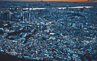 4k, Seoul, sunset, skyline cityscapes, megapolis, South Korea, Asia, nightscapes, Seoul in evening
