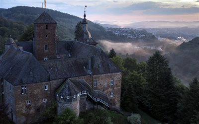 Castle Schnellenberg, old castle, morning, sunrise, fog, castles of Germany, Attendorn, Germany