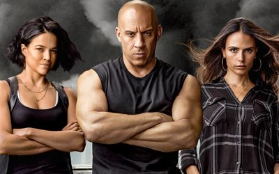 F9, 2020, The Fast and the Furious 9, all actors, main characters, Vin Diesel, Michelle Rodriguez, Jordana Brewster, promo materials, poster
