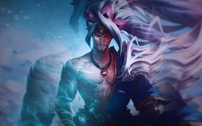 Spirit Blossom Yasuo, 4k, warriors, MOBA, League of Legends, artwork, Legends of Runeterra, Yasuo League of Legends, Yasuo