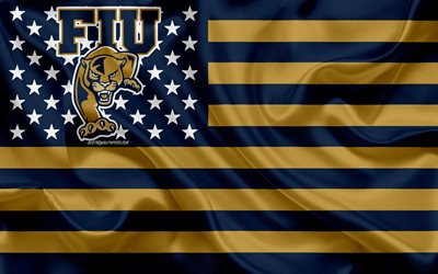 FIU Panthers, American football team, creative American flag, blue gold flag, NCAA, Miami, Florida, USA, FIU Panthers logo, emblem, silk flag, American football, Florida International University
