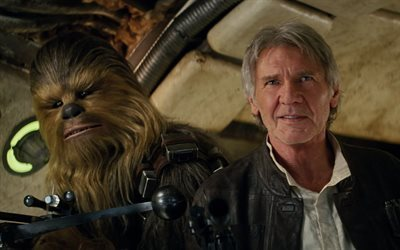 fiction, l'aventure, harrison ford, rôle, han solo