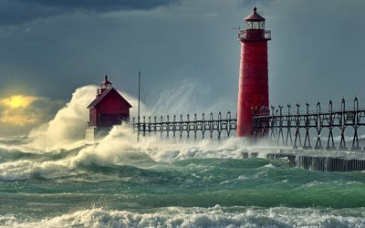 wave, pierce, lighthouse, lake michigan