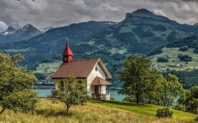 alps, chapel, canton of st gallen, switzerland