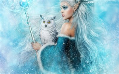 elf, art, fantasy, staff, owl
