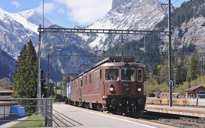 swiss alps, old locomotive, kandersteg