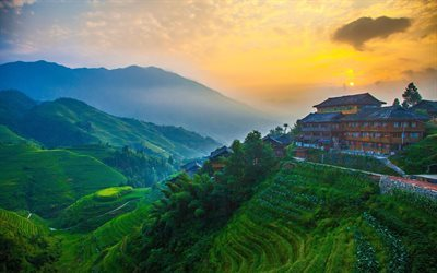 village day, sunset, mountains, china