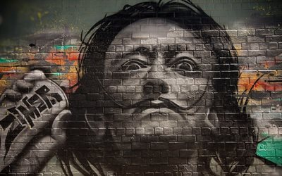 parede, graffiti, salvador dali