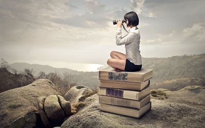 girl, book patrol, binoculars, books