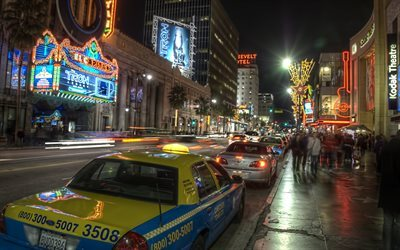 los angeles, hollywood, taxi, street, night, ca