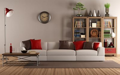bookcase, sofa, living room, watch