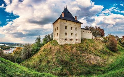 hill, galician castle, galich, tower, trees, ivano-frankivsk oblast