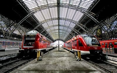 platform, leipzig, trains, germany