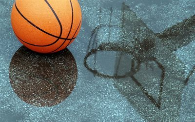basketball, ball, reflection