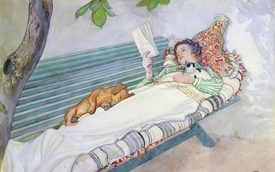 1913, carl larsson, swedish artist, watercolor