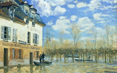 french artist, alfred sisley, port marly, 1876, paris