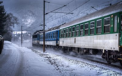 snow-covered road, winter landscape, passenger train, czech republic