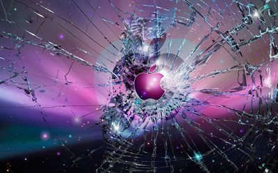 logo, broken screen, apple