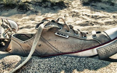 beach, sand, old sneakers