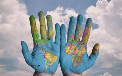 world map, hands-map, palm, creative