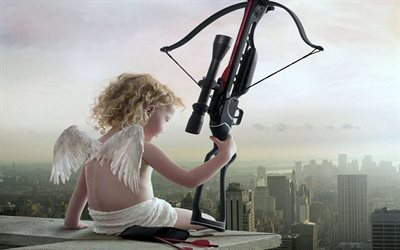 crossbow, skyscraper, modern cupid, arrows