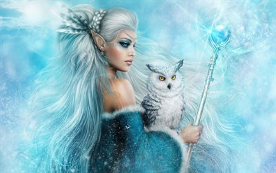 art, fantasy, girl, elf, white owl