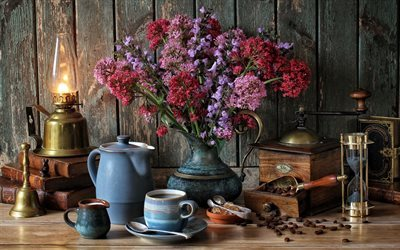 a bouquet of flowers, old coffee grinder, kerosene lamp, hourglass, antique still life, books