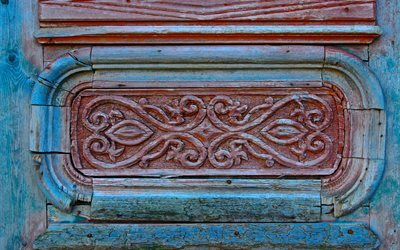beautiful carving, old door, blue paint