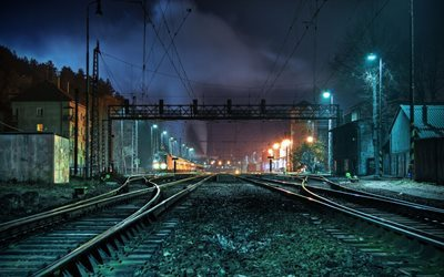 rails, lights, train