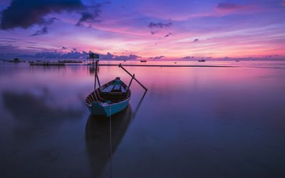 boat, lake, purple dawn, landscape